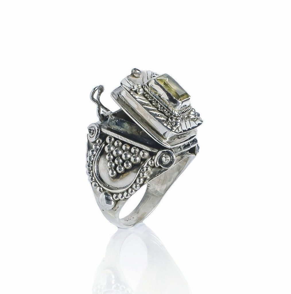 Sterling silver Citrine Statement Cocktail Box Poison Indian Ring