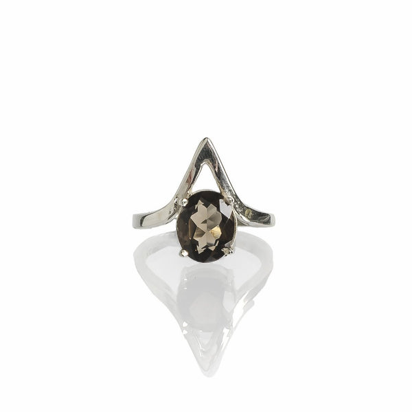 Sterling silver smoky quartz triangle ring handmade ethical jewelry