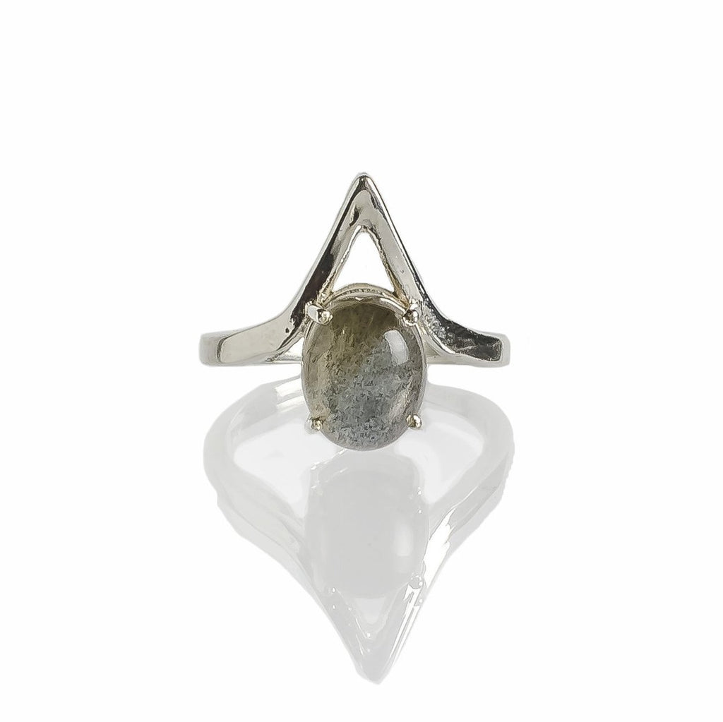 Sterling silver labradorite triangle ring handmade ethical jewelry