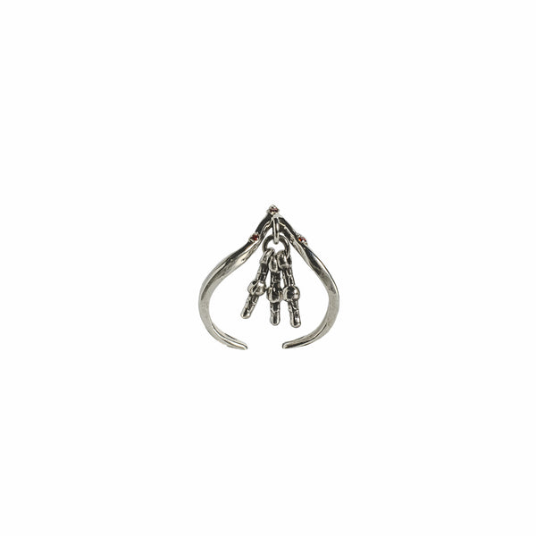 handmade ethical jewelry triangle silver ring hyderabadi garnet