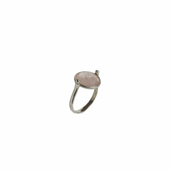 Sterling silver rose quartz faceted circle cut ring handmade ethical jewelry