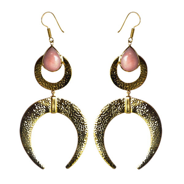 moon earrings Australian jewellery designer mountain and moon pink opal costume gold