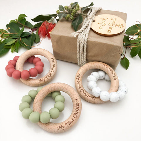 """Christmas"" - Silicone & Beech Wood Teether"