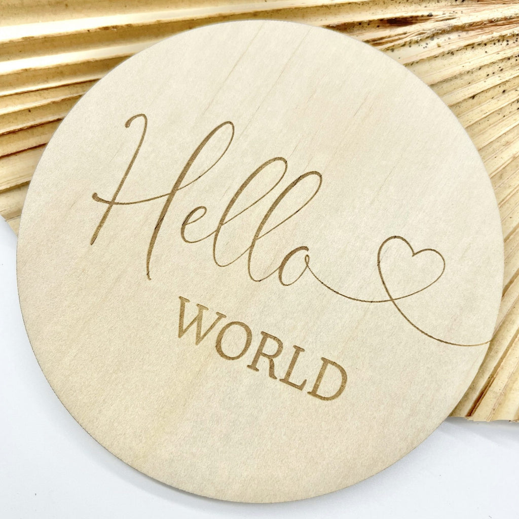 """Hello World"" - Heart Birth Announcement Discs"