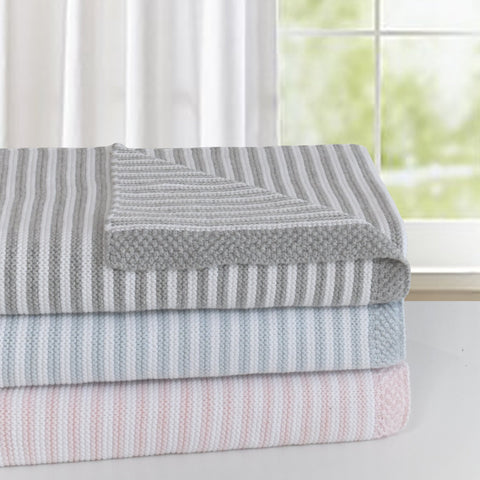 """Cotton Knit Stripe Blankets"""