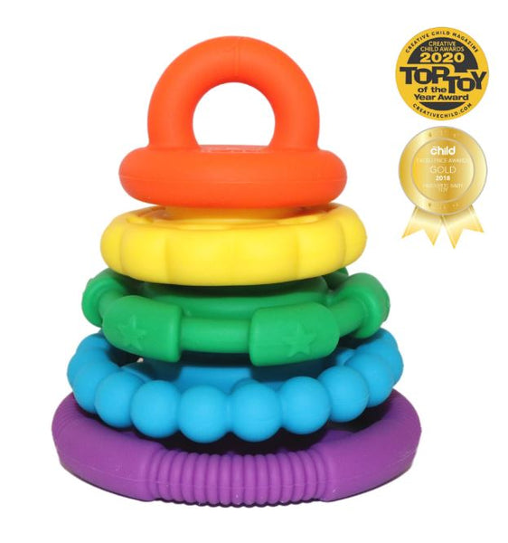 """Rainbow Stacker & Teething Toy"" by Jellystone Designs"