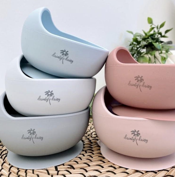 """Silicone Bowl & Spoon Set"" by Dainty Daisy"