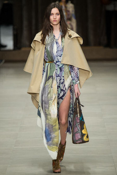 Burberry Fall RTW 2014 - Hand painted dress and cape.