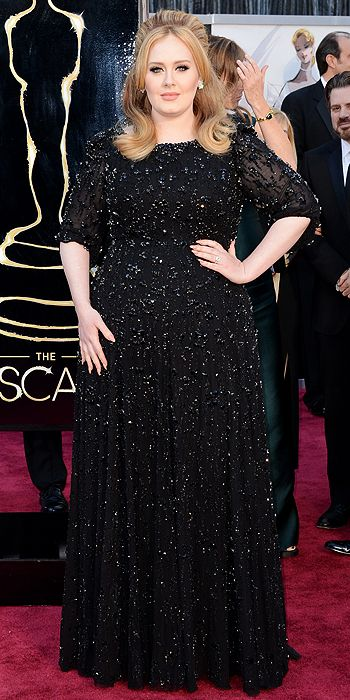 Adele in an embellished Jenny Packham gown