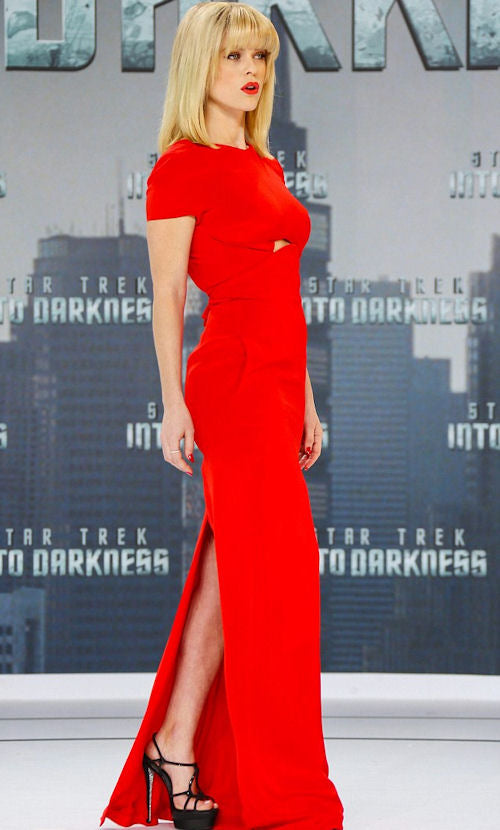 Alice Eve vamped it up in crimson red