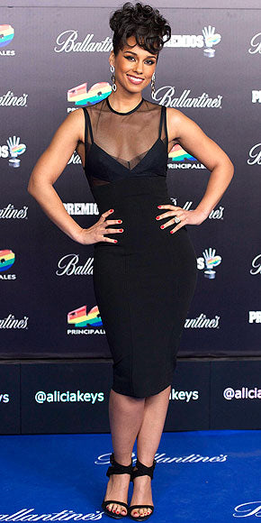 Alicia Keys also sports her sheer on top in an LBD with a sexy twis