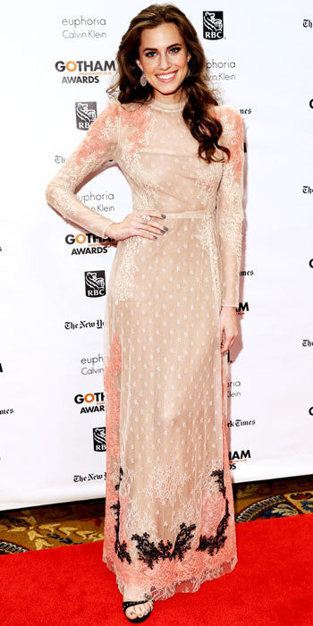 Allison Williams went with a pastel hued Valentino number at the Gotham Independent Film Awards