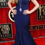 Amanda Seyfried in navy blue Zac Posen