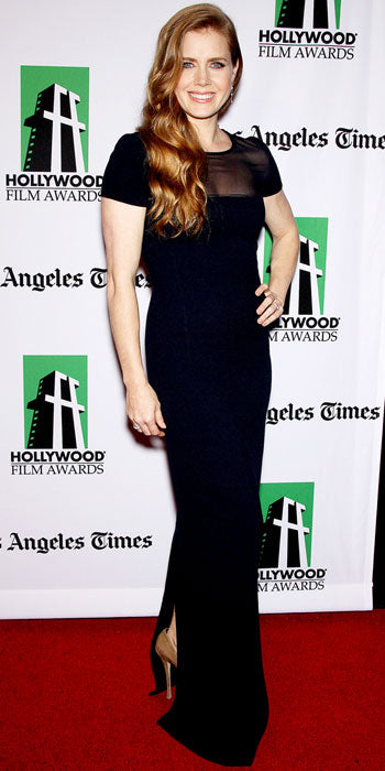 Amy Adams attended the Hollywood Film Awards in an elegant Oscar de la Renta column gown