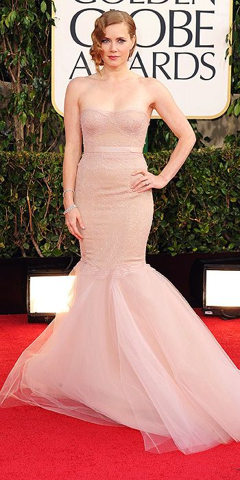 2013 Golden Globes - Amy Adams looked stunning in blush Marchesa and almost half a million worth of Tiffany & Co. jewels