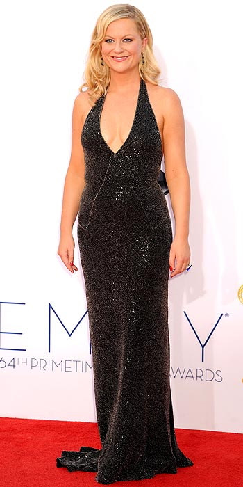 Amy Poehler attends the 2012 Emmy Awards in a black sequin Stella McCartney gown