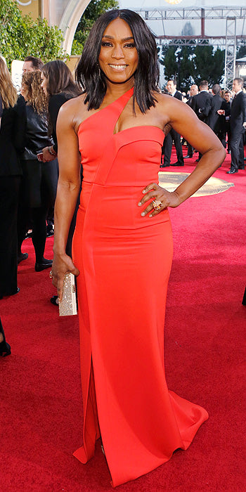 Angela Bassett in a one shoulder number with side slit. (Photo by Trae Patton/NBC/NBCU Photo Bank via Getty Images)