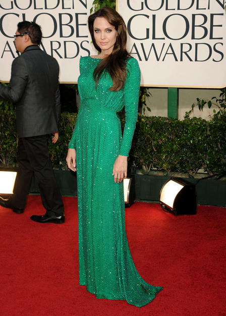 Angelina Jolie also pops in this gorgeous color wearing Atelier Versace.