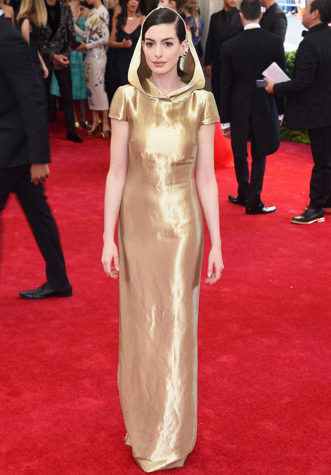 Anne Hathaway took a risk that paid off in custom Ralph Lauren with a hood.