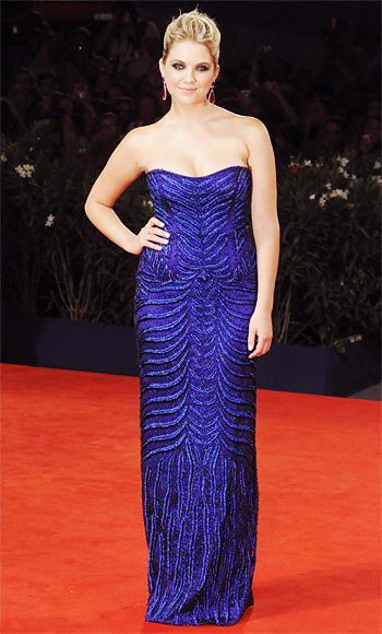 Ashley Benson attended the Venice premiere of Spring Breakers in a shocking blue Alberta Ferreti gown
