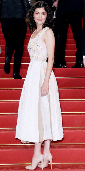 Audrey Tautou defines French chic in an elegant tea-length Prada dress