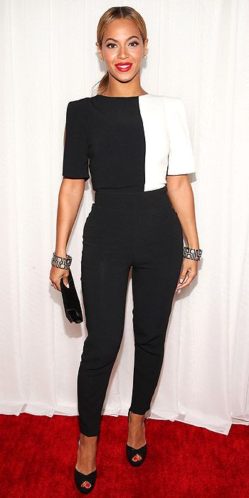 Beyonce in color blocked Osman separates