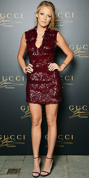Blake Lively attended a Gucci event in Venice sporting a plum hued embroidered mini from the label