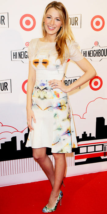 Blake Lively channeled spring in a pastel hued floral print dress