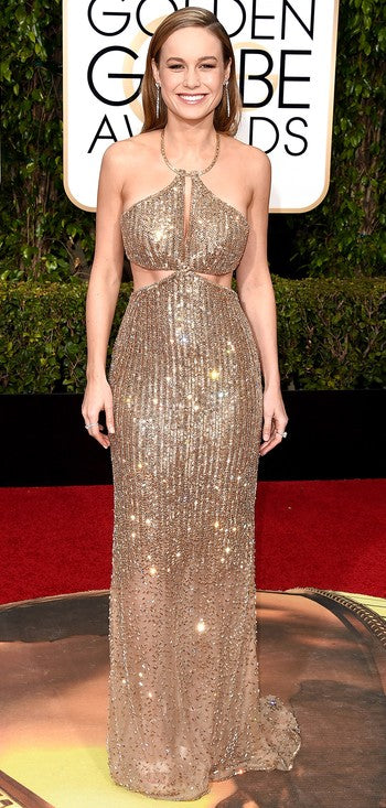 Brie Larson also showed off her enviable mid-section in a glittering custom Calvin Klein gown.