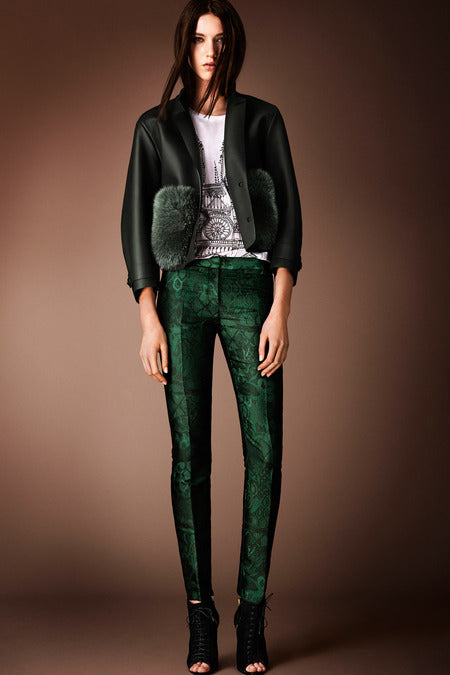 Burberry Prorsum Pre-Fall 2014. More emerald but this time with some texture.