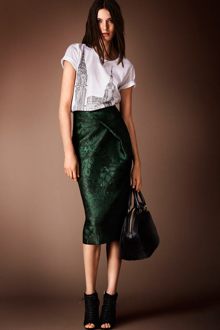 Burberry Prorsum Pre-Fall 2014. Not even this casual printed tee can downplay the beauty or perfection of this emerald green skirt.