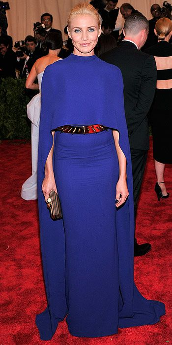 Cameron Diaz donned a dramatic Stella McCartney dress complete with a backless cape and spiked belt