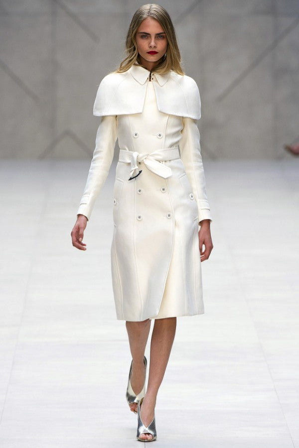 Cara Delevigne first strutted the look down the runway at the Spring 2013 Burberry Prorsum show