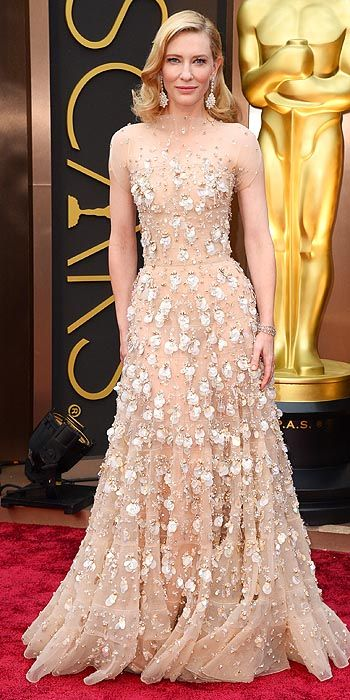 Cate Blanchett opts for some serious floral embellishments on her nude gown