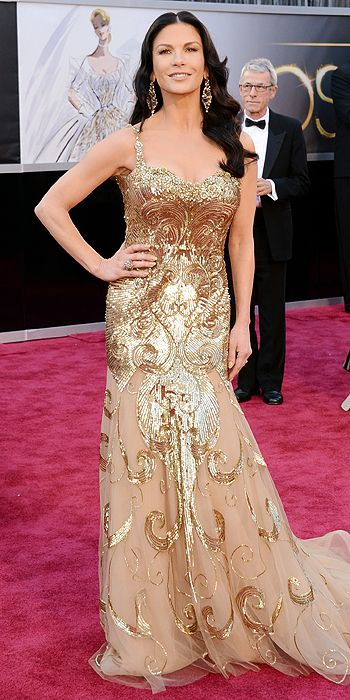 Catherine Zeta Jones in gold Zuhair Murad