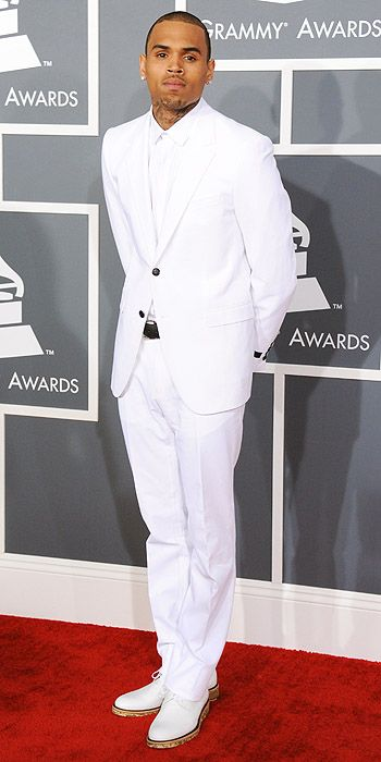 Chris Brown in all white