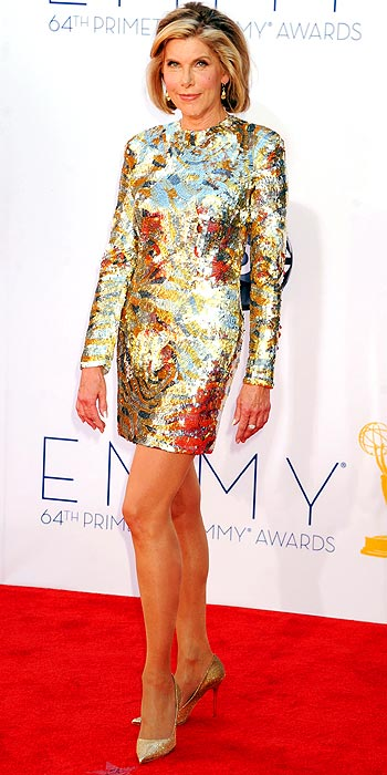 The Good Wife's Christine Baranski showed off some leg and went for a gold sequin mini at the 2012 Emmy Awards