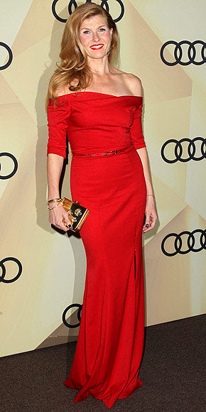 Connie Britton highlighted her red locks with an equally red off-the-shoulder gown