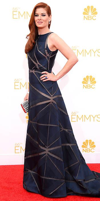 """Debra Messing was a """"miss"""" with her over-ruched and therefore over-voluminous black number"""