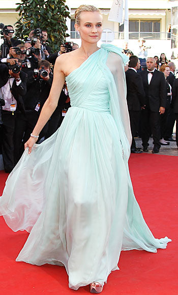 Diane Kruger attended the premiere of Moonrise Kingdom in a beautiful powder blue Giambattista Valli dress