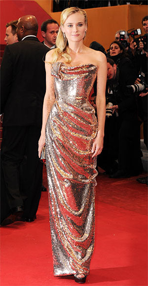 Diane Kruger is the epitome of glamour in a sequined rose gold Vivienne Westwood gown