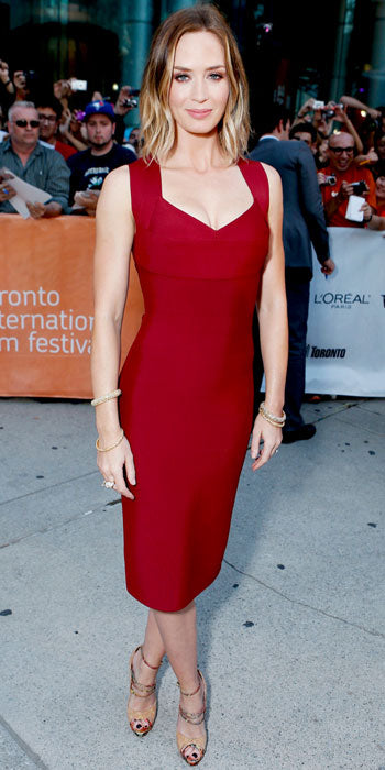 Emily Blunt attended the Toronto Film Festival premiere of Looper in a fitted Roland Mouret sheath