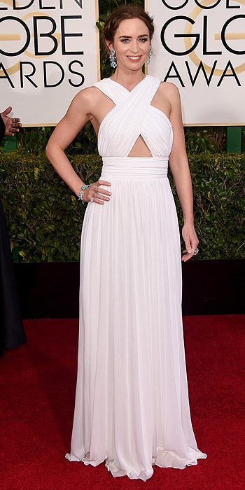 There's nothing like a white moment on the red carpet. The honor this year goes to the gorgeous Emily Blunt who looked elegant in a Grecian inspired white Michael Kors gown with cut-out details.