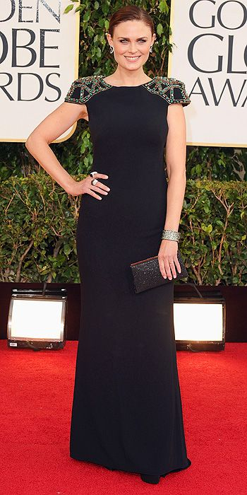 Emily Deschanel in a cap sleeved black gown
