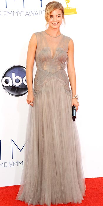Emily VanCamp attends the 2012 Emmy Awards in a dove gray J. Mendel gown