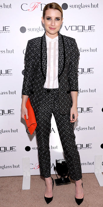 Emma Roberts added a little edge to her style in Nanette Lepore printed separates