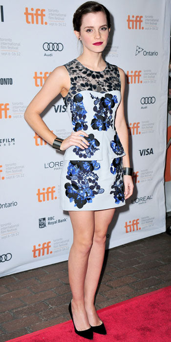 Emma Watson attended the premiere of The Perks of Being a Wallflower in a floral print Erdem mini