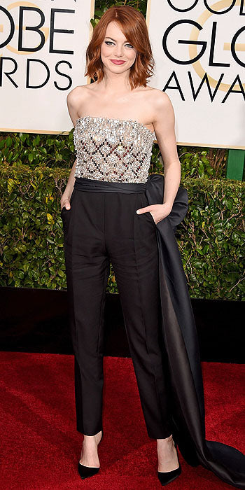 Emma Stone skipped the traditional gown and went for a Lanvin jumpsuit instead. To add some unexpected length, she finished off her look with a long side belt.