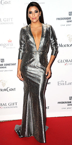Eva Longoria went for a plunging metallic number at the Global Gift Gala.