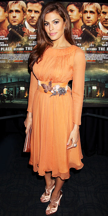 Eva Mendes went for a gorgeous and romantic peach number at the premiere of her latest film